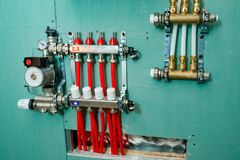 Manifold heating system stock images