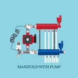 Manifold with Pump for  warm floor.  Vector illustration. Royalty Free Stock Photography