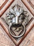 Maniglia della porta d'annata con il fronte dei leoni Immagine Stock Libera da Diritti