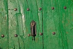 Maniglia della porta nera su verde Fotografia Stock