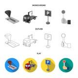 Maniglia della trasmissione, camion di rimorchio, segno di parcheggio, segnale di arresto Icone stabilite della raccolta di zona  Fotografie Stock