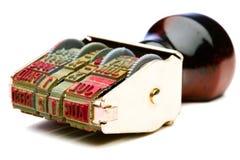 Maniglia di legno del timbro di gomma Fotografie Stock Libere da Diritti