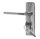 Maniglia di porta di argento sulla vista laterale del fondo bianco Fotografie Stock Libere da Diritti