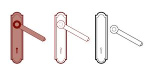 Maniglia di portello con il buco della serratura Fotografia Stock
