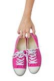 Maniglia rosa luminosa delle scarpe di tela. Immagini Stock Libere da Diritti