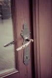 Manija de puertas de cobre amarillo foto de archivo libre de regalías