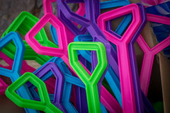 Manijas coloridas de las palas Foto de archivo