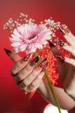 Maniküre der schönen Hände mit einer Blume Stockfotografie