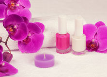 Maniküre ist eine kosmetische Behandlung der Hände, die den Schnitt, die Formung und häufig der Nägel malen, Abbau der Häutchen u stockfotografie
