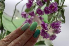 Maniküre mit der Farbe drei grüner Abstufungen lizenzfreies stockbild