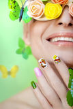 Maniküre mit Schmetterlingen Stockbild