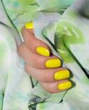 Maniküre - Schönheitsbehandlungsfoto von netten manikürten Frauenfingernägeln Sehr nette weibliche Nagelkunst mit nettem Rotem, w stockfoto
