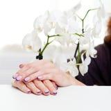 Maniküre und Orchidee stockbilder