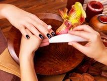 Maniküristmeister macht Maniküre auf den Händen der Frau stockbild