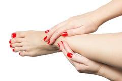 Manikürte weibliche Füße und Hände mit den roten Nägeln lokalisiert auf Weiß Stockbild