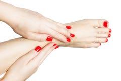 Manikürte weibliche Füße und Hände mit den roten Nägeln lokalisiert auf Weiß Lizenzfreies Stockbild