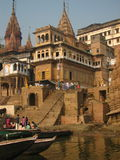 Manikarnica Ghat in Benaras India Royalty Free Stock Images