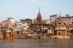 Manikarnika Ghat. View of Manikarnika Ghat, Varanasi, India. Taken from the river after monsoon Stock Photography