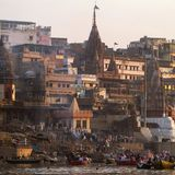 Manikarnika Ghat on the banks of Ganges river Stock Image