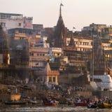 Manikarnika Ghat on the banks of Ganges river Stock Image