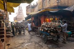 Manikarnika Ghat is one of the ghats in Varanasi India and is most known for being a place of Hindu cremation. Varanasi, India - December, 9th, 2017 Royalty Free Stock Image