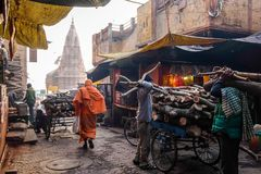 Manikarnika Ghat is one of the ghats in Varanasi India and is most known for being a place of Hindu cremation. Varanasi, India - December, 9th, 2017 Royalty Free Stock Photos