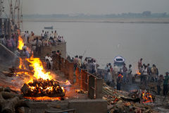 Manikarnika ghat at Varanasi. MP 062: Manikarnika ghat or burning ghat is the place where Hindus are cremated in Varanasi, Uttar Pradesh, India. Hindus believe Stock Photography