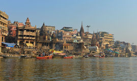 Manikarnika Ghats in Varanasi. Dawn View of Manikarnika Ghat which is the primary cremation ghat in Varanasi on the Ganges River Stock Images
