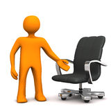 Manikin Armchair. Orange cartoon character with swivel armchair on the white background Royalty Free Stock Photos