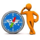 Manikin Big Compass Royalty Free Stock Images