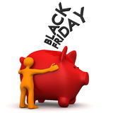 Manikin Black Friday Piggy Bank Stock Photography