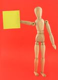 Manikin with blank note Stock Photo