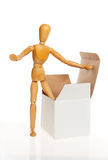 Manikin with a box Stock Photography