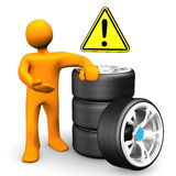 Manikin Car Wheels Attention, Royalty Free Stock Photo