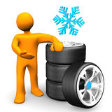 Manikin Car Wheels Snow Tires Royalty Free Stock Photos