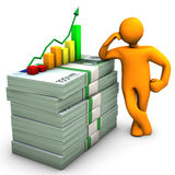 Manikin Euro Notes Chart. Orange cartoon character with euro notes and colorful chart Stock Illustration