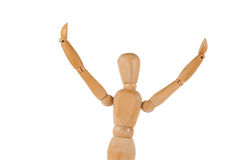 Manikin figure holds arms up in the air isolated on white Royalty Free Stock Photo