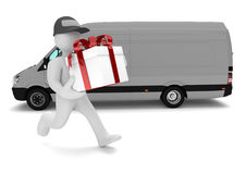 Manikin Gift Delivery Van Royalty Free Stock Image