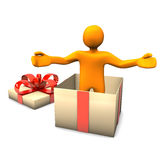 Manikin Gift Surprise Royalty Free Stock Photography