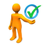 Manikin Green Tick. Orange cartoon character with green tick in the blue ring Royalty Free Stock Photo