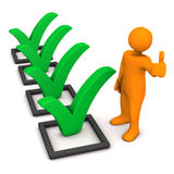 Manikin Green Ticks Checklist. Orange cartoon character with green checklist on the white Stock Image
