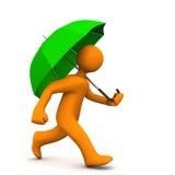 Manikin Green Umbrella Stock Photo