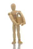 Manikin holding padlock Royalty Free Stock Images