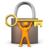 Manikin kłódki Złoty klucz Fotografia Royalty Free