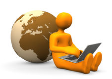 Manikin Laptop Globe Stock Images