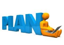 Manikin Laptop Plan Royalty Free Stock Photo