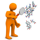 Manikin Loupe Molecule. Orange cartoon character with loupe and molecule. White background Royalty Free Stock Images