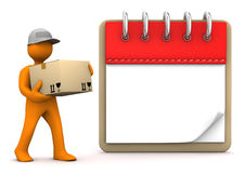 Manikin Notepad Shipment. Orange cartoon character with packet and notepad. White background Royalty Free Stock Images
