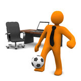 Manikin Office Notebook Football Royalty Free Stock Photography