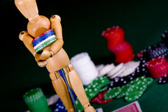 Manikin plays poker Stock Images